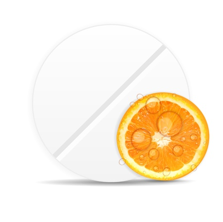 Orange pill icon Environment background vector illustration illustration