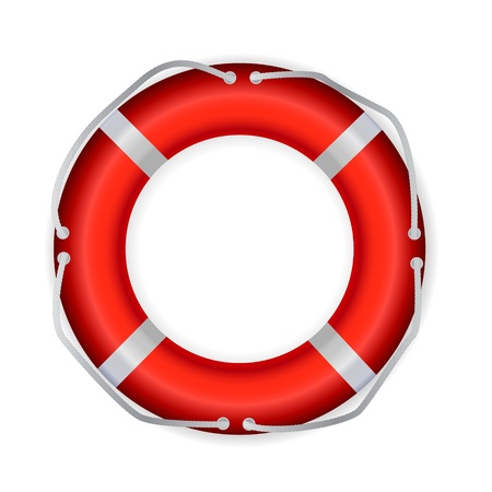 Life Buoy, Isolated On White Background, Vector Illustration Vector