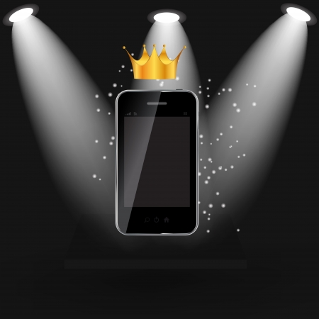 shelve: Mobile phone on black shelve  background  Vector  illustration Illustration