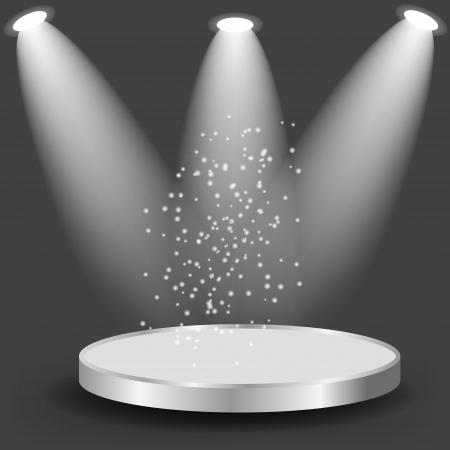 showcase interior: Scaffali vuoti bianchi su sfondo nero illustrazione vettoriale