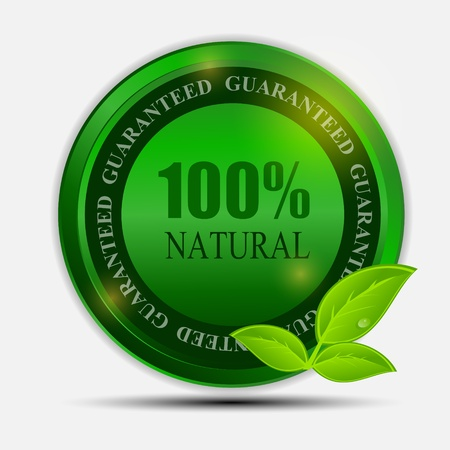 100  natural green label isolated on white vector illustration Vector