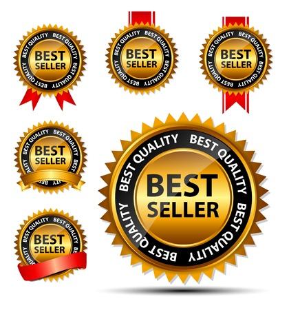 best seller: Vector Bestseller Gold Zeichen, Etikettenvorlage Illustration