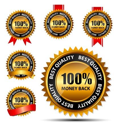 Vector 100 Geld-zurück-Gold Zeichen, Etikettenvorlage Standard-Bild - 20087804