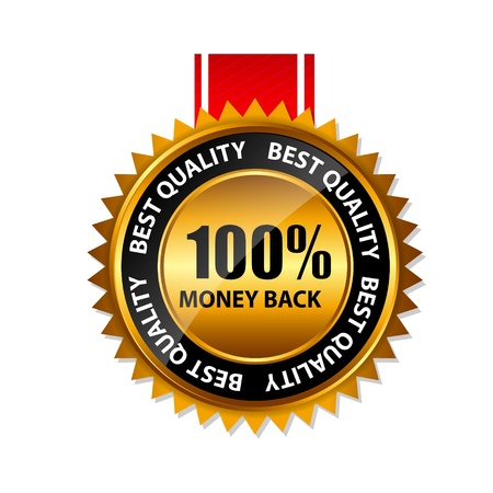 Vector 100  money back gold sign, label template Stock Vector - 20087917
