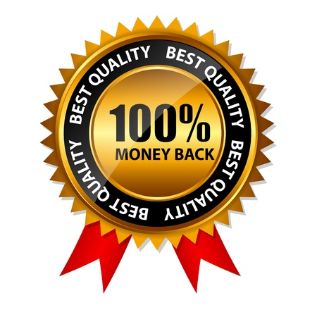 Vector 100  money back gold sign, label template Vector