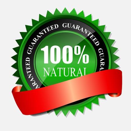 100 ?tiquette naturel vert isol? sur blanc illustration vectorielle