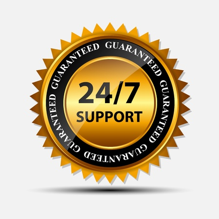 gold seal: Vector 24 7 SUPPORT gold sign, label template Illustration