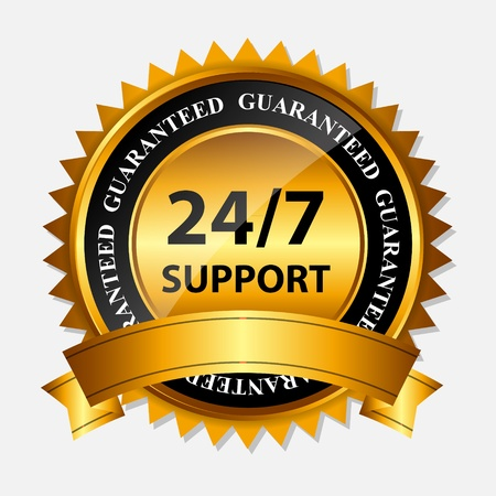 Vector 24 7 SUPPORT gold sign, label template Stock Vector - 20227976