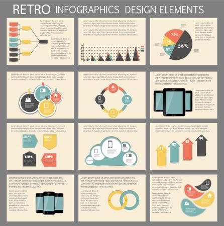 planning diagram: Retro Vintage Infografica modello di business illustrazione Vettoriali