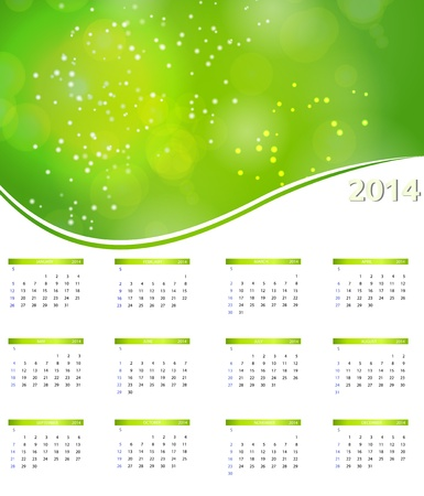 2014 new year calendar illustration. Vector