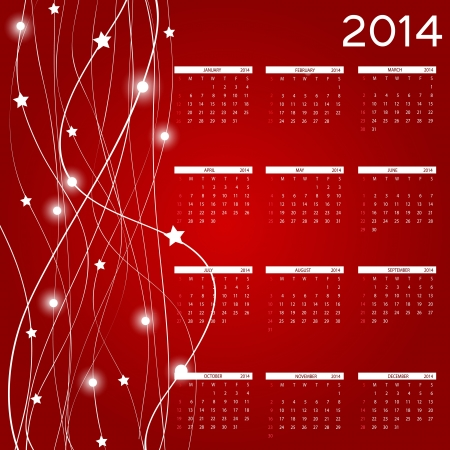 2014 new year calendar illustration. Vector