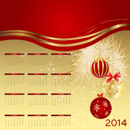 2014 new year calendar illustration. Stock Vector - 20600972