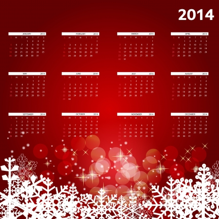 2014 new year calendar illustration Vector