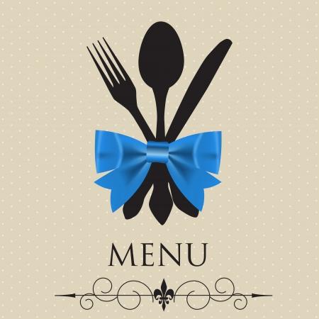 레스토랑 메뉴의 그림의 개념 일러스트