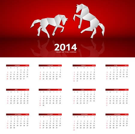 2014 new year calendar illustration Stock Vector - 20600789