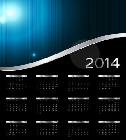2014 new year calendar illustration Stock Vector - 20600817