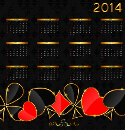 2014 new year calendar in poker theme illustration illustration