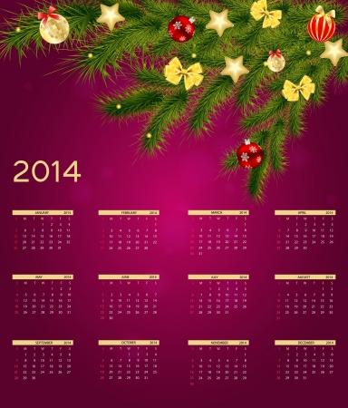 2014 new year calendar vector illustration Vector