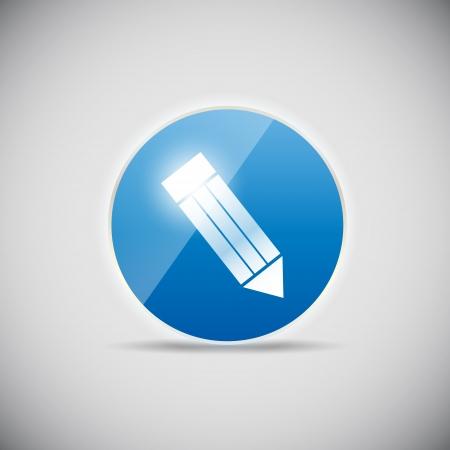 pensil: Shine glossy computer icon vector illustration Stock Photo