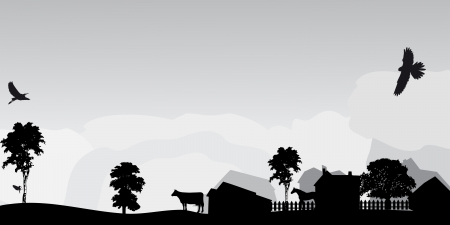 rural land: grey landscape with trees and village Illustration