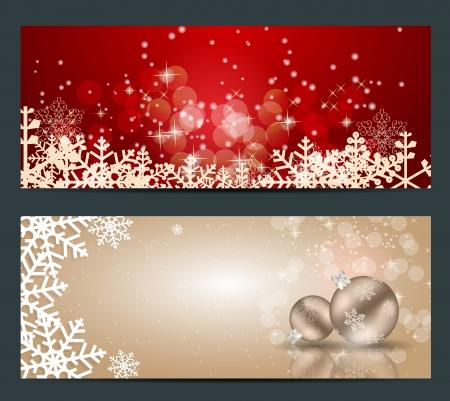 christmas lights: Set di carte con le palle di Natale, stelle e fiocchi di neve, illustrazione vettoriale