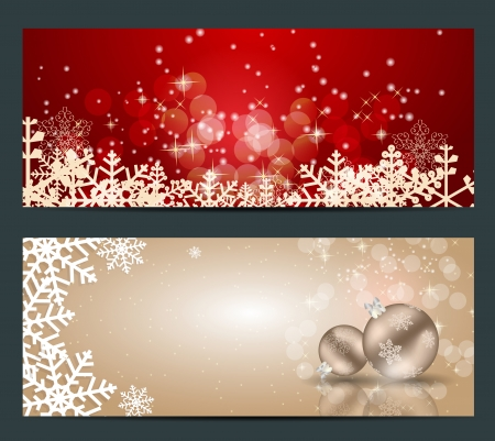 christmas backdrop: Set of cards with Christmas BALLS, stars and snowflakes,vector  illustration