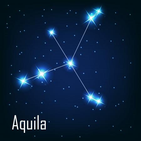 """milkyway: Het sterrenbeeld """"Aquila"""" ster aan de nachtelijke hemel. Vector illustratie Stock Illustratie"""