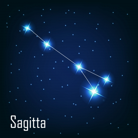 starbright: The constellation  Sagitta star in the night sky. Vector illustration