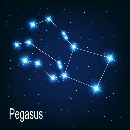 The constellation Pegasus star in the night sky. Vector illustration Çizim