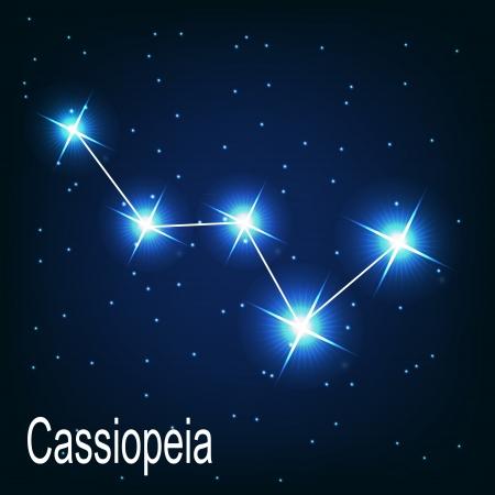 """Het sterrenbeeld """"Cassiopeia"""" ster aan de nachtelijke hemel. Vector illustratie"""