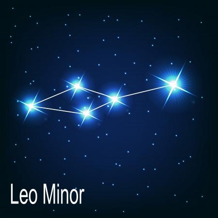 """milkyway: Het sterrenbeeld """"Kleine Leeuw"""" ster aan de nachtelijke hemel. Vector illustratie Stock Illustratie"""
