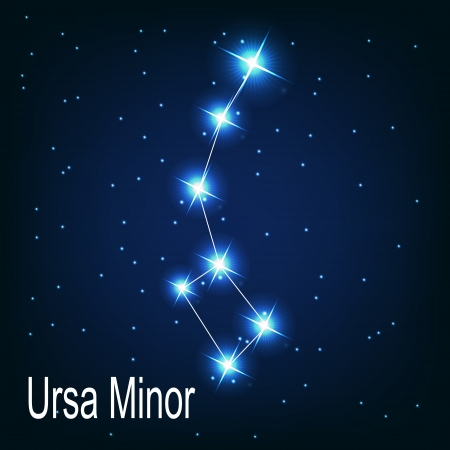 starbright: The constellation  Ursa Minor star in the night sky. Vector illustration