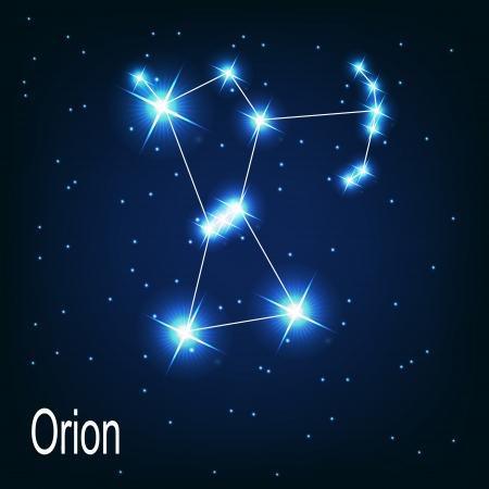 夜空に星座「オリオン」星。ベクトル イラスト