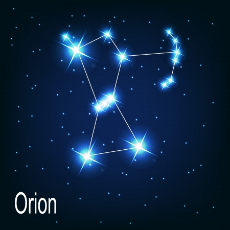 astrophotography: The constellation Orion star in the night sky. Vector illustration Illustration