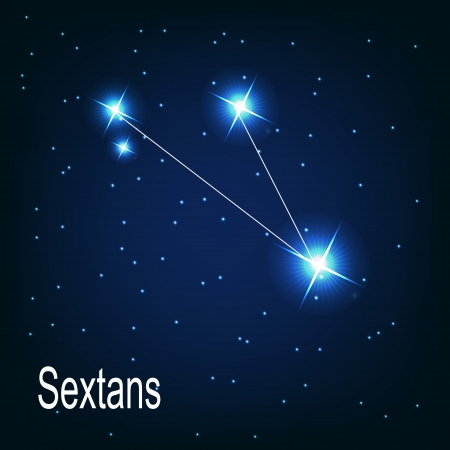 starbright: The constellation Sextans star in the night sky. Vector illustration