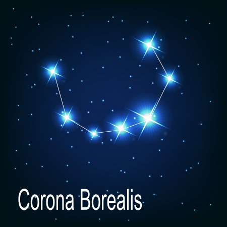 starbright: The constellation Corona Borealis star in the night sky. Vector illustration
