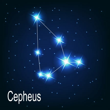 The constellation Cepheus star in the night sky. Vector illustration Illustration