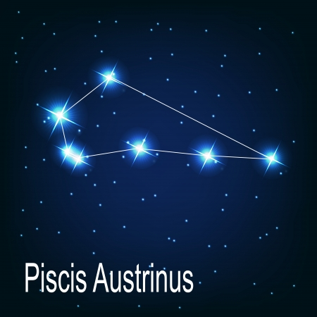 starbright: The constellation Piscis Austrinus star in the night sky. Vector illustration