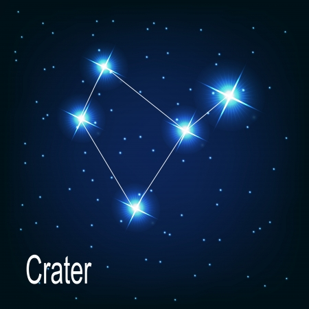 asterism: The constellation Crater star in the night sky. Vector illustration Illustration