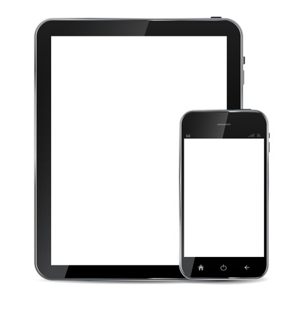 Abstract design  realistic mobile phone and tablet with blank screen isolated on white background.Vector  illustration Vector