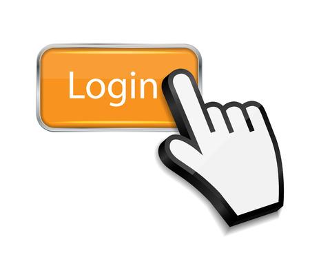 login button: Mouse hand cursor on login button vector illustration