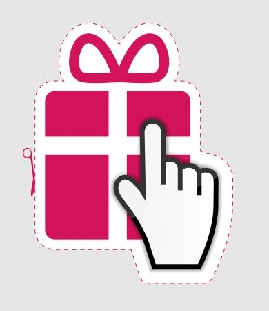 Mouse hand cursor on gift sticker label  vector illustration Vector