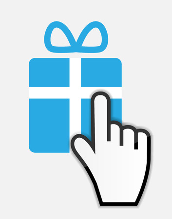 mouse click: Mouse hand cursor on gift vector illustration Illustration