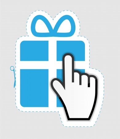 Mouse hand cursor on gift sticker label  vector illustration Vector
