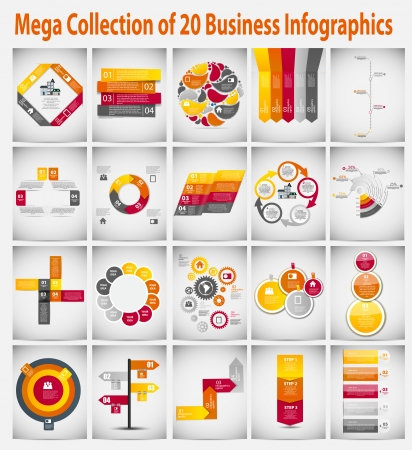 Mega collection  infographic template business concept vector illustration Vector