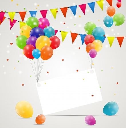 Color glossy balloons birthday card  background vector illustration Vector