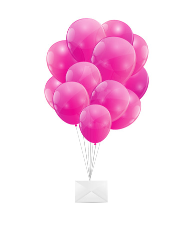 Color Glossy Balloons with Envelope Illustration Vector