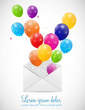 Envelope with Balloons Illustration Stock Vector - 25082533