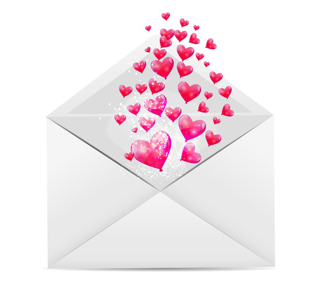Valentine`s Day Card with Envelope and Heart Illustration