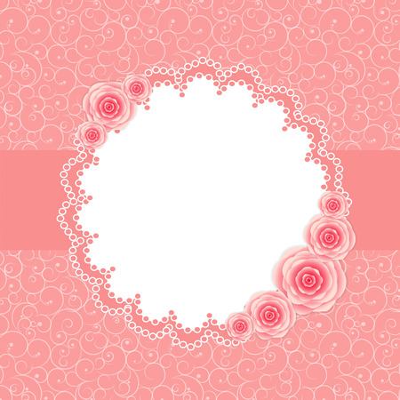Cute Frame with Rose Flowers  Illustration Illustration